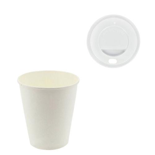 """Copo Cartão Branco 355 ml (12Oz) c/ tampa """"ToGo"""" Branca - pacote de 50 unidades"""