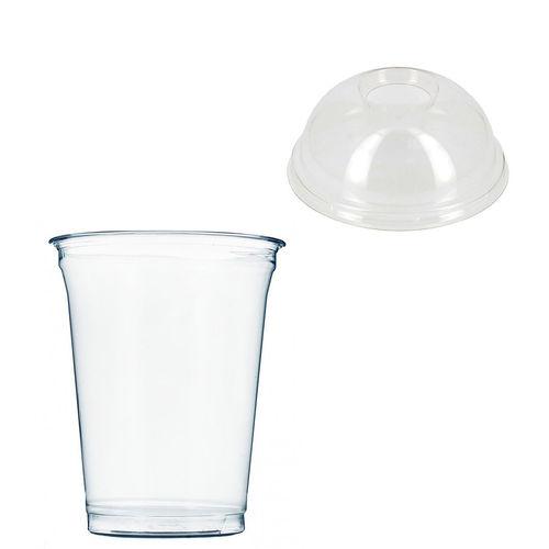 Copo Plástico PET 425ml - Aferidos a 300ml - c/Tampa Cúpula Perfurada - Manga de 67 unidades