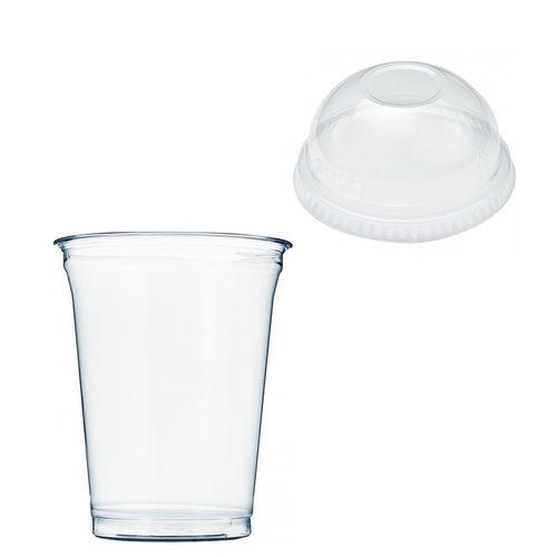 Copo Plástico PET 425ml - Aferidos a 300ml - c/Tampa Cúpula Fechada - Manga de 67 unidades