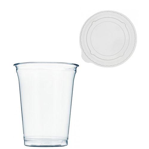 Copo Plástico PET 425ml - Aferidos a 300ml - c/Tampa Plana Fechada - Manga de 67 unidades