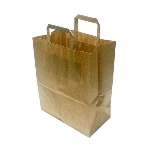 Saco de Papel Kraft com Asa Plana 32x26+22cm - Pacote 50 unidades