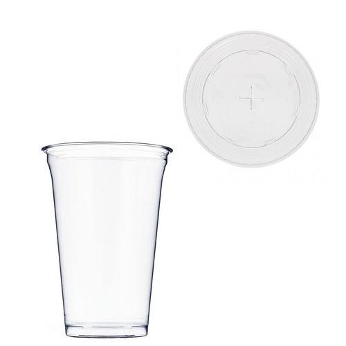 Copo Plástico PET 550ml - Aferidos a 400ml - c/Tampa para Palhinhas - Manga 56 unidades