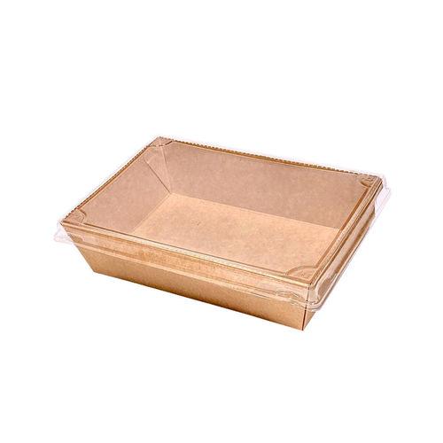 Caixa / Saladeira de Cartão Rectangular Kraft c/ tampa PET 700ml - Cx. Completa 200 unidades