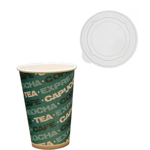 Copo Cartão Coffee 200ml c/Tampa Plana Fechada - 50 unidades