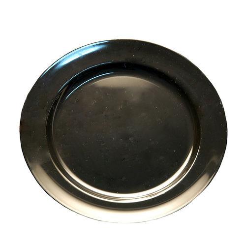 Prato Plástico Raso 23cm (Rigido) PS - Cx. Completa 100 Unidades Preto