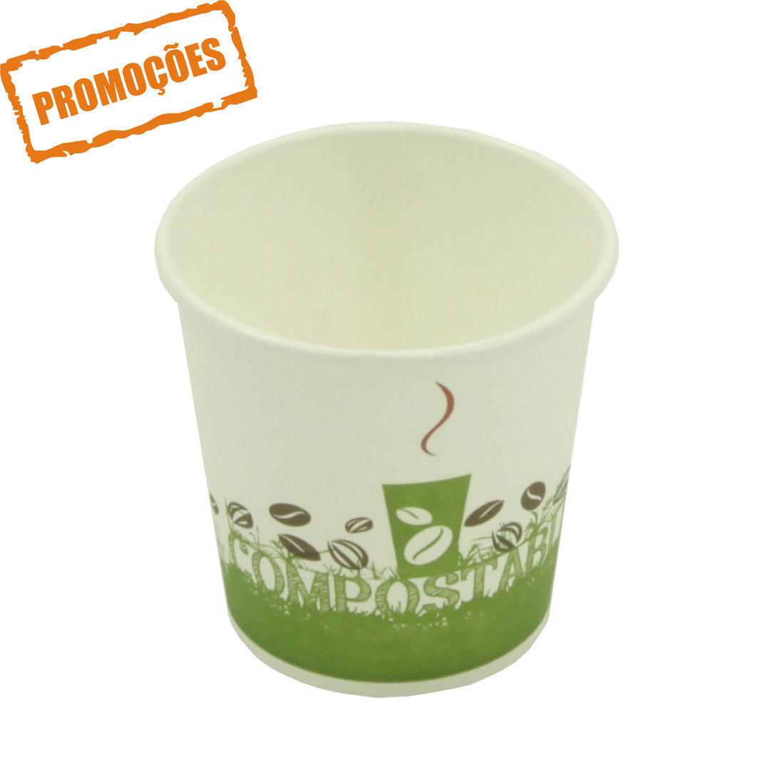 Copo Cartão Green Cup - 100 % Biodegradável 100ml - Pacote 50 unidades