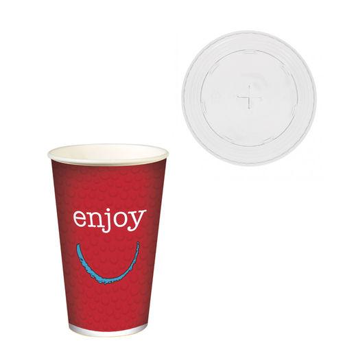 """Copo Cartão Bebidas Frias  """"Enjoy"""" 500ml -Aferido 400ml (16OZ) Mangas 50 Uni c/ Tampa para palhinhas"""