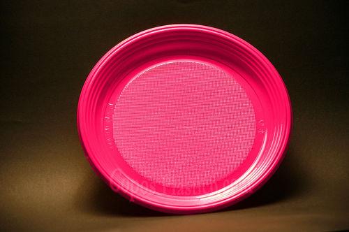 Prato Plástico Descartável 22 Cm Cx completa  700 Unidades Rosa