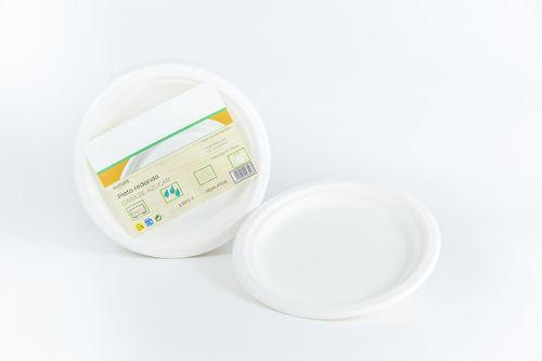Prato BIO Branco Cana de açucar 22cm - Manga 50 unidades