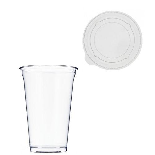 Copo Plástico PET 650ml - Aferidos a 500ml - c/Tampa Plana Fechada - Manga de 50 unidades